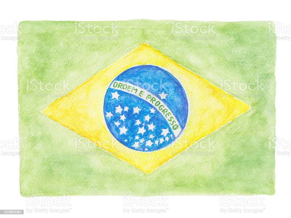 Brazil flag watercolor pencils painting stock photo