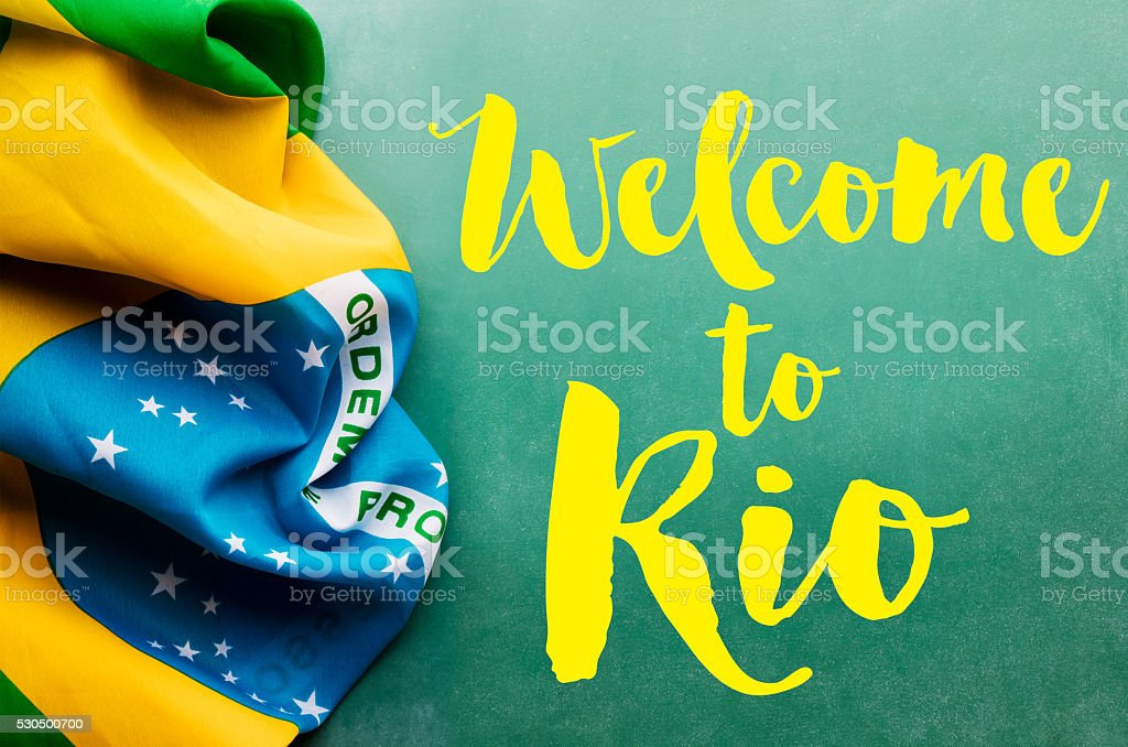 Brazil flag with Welcome to Rio message stock photo