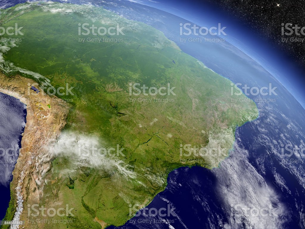 Brazil from space stock photo