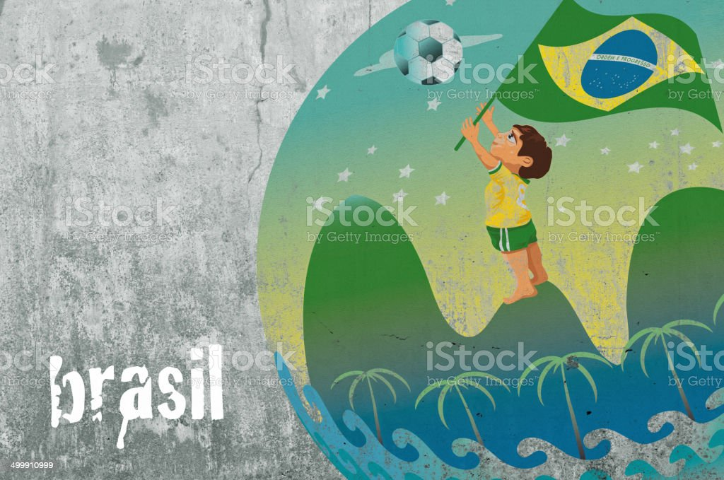 brazil  graffiti with soccer boy royalty-free stock photo