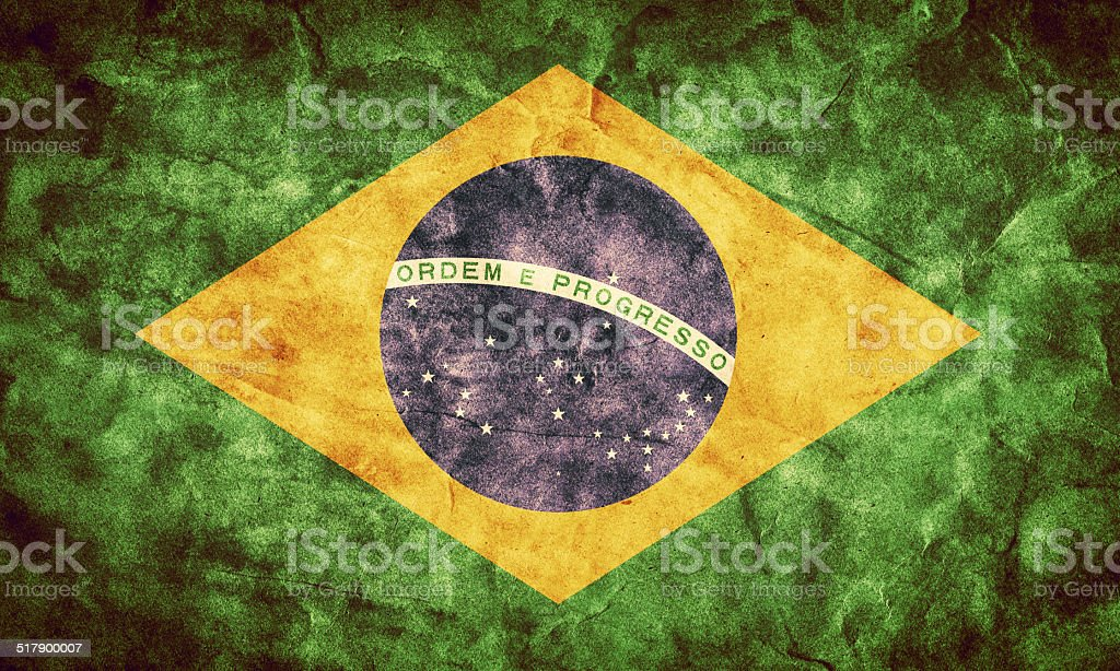 Brazil grunge flag. Item from my vintage, retro flags collection stock photo