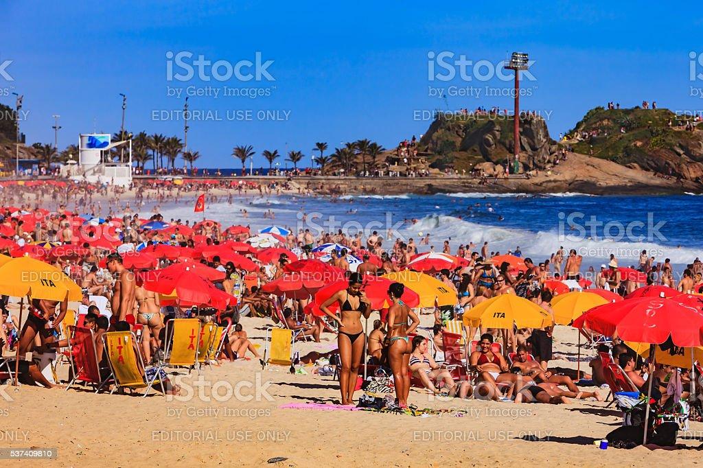 Brazil - Ipanema Beach, Rio de Janeiro, bikinis and umbrellas stock photo