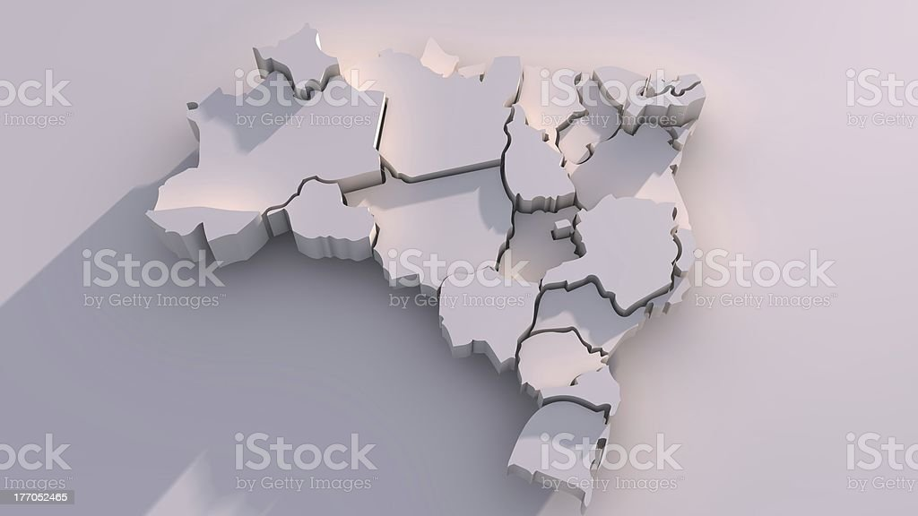 3D Brazil Map Animation With States stock photo