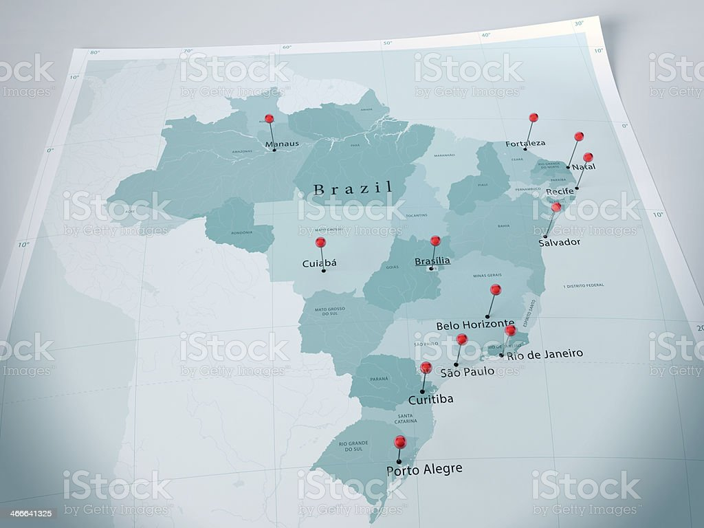 Brazil Map Curl Selected Cities Straight Pin stock photo
