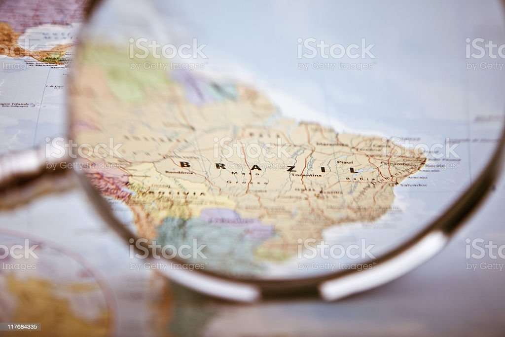 Brazil Map, selective focus stock photo