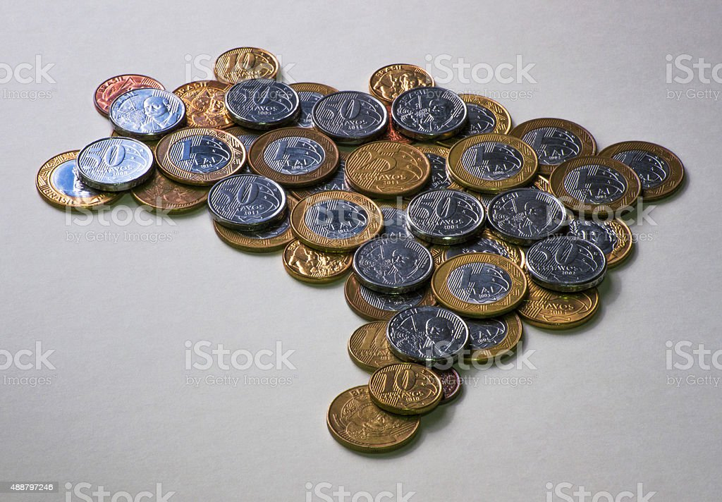 Brazil map with coins stock photo