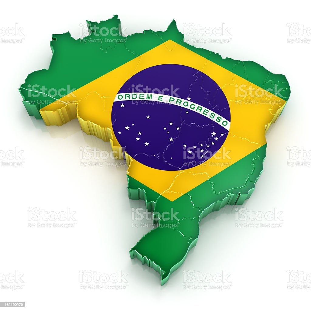 Brazil map with flag stock photo