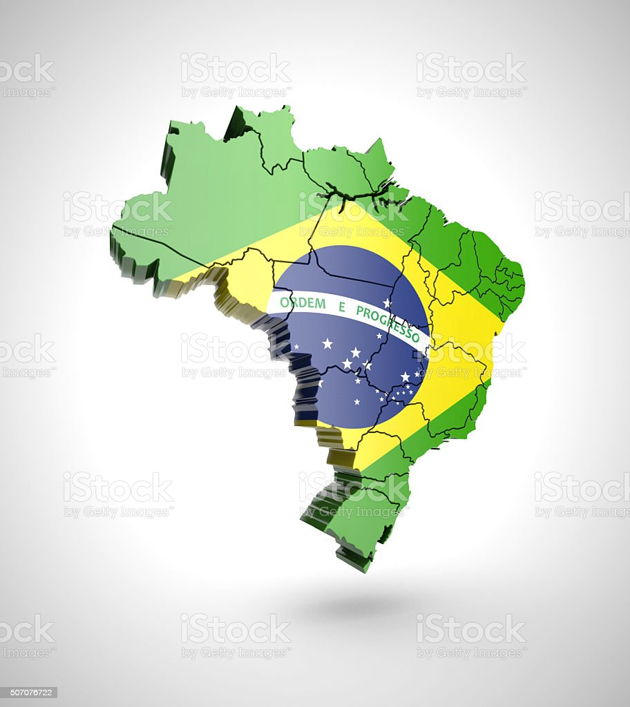 Brazil map with shadow effect on a gray background stock photo