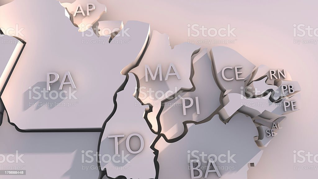 Brazil map with states royalty-free stock photo