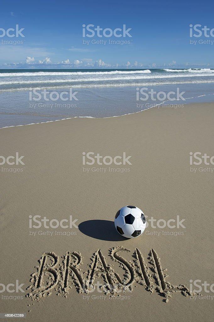 Brazil Message Football Soccer Ball on Wide Brazilian Tropical Beach royalty-free stock photo