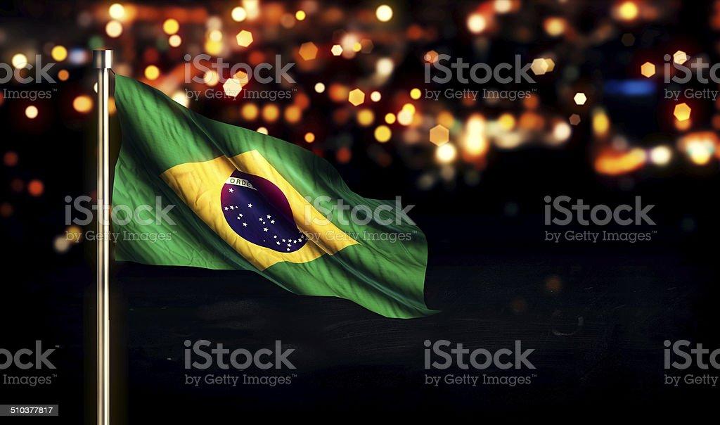 Brazil National Flag City Light Night Bokeh Background 3D stock photo