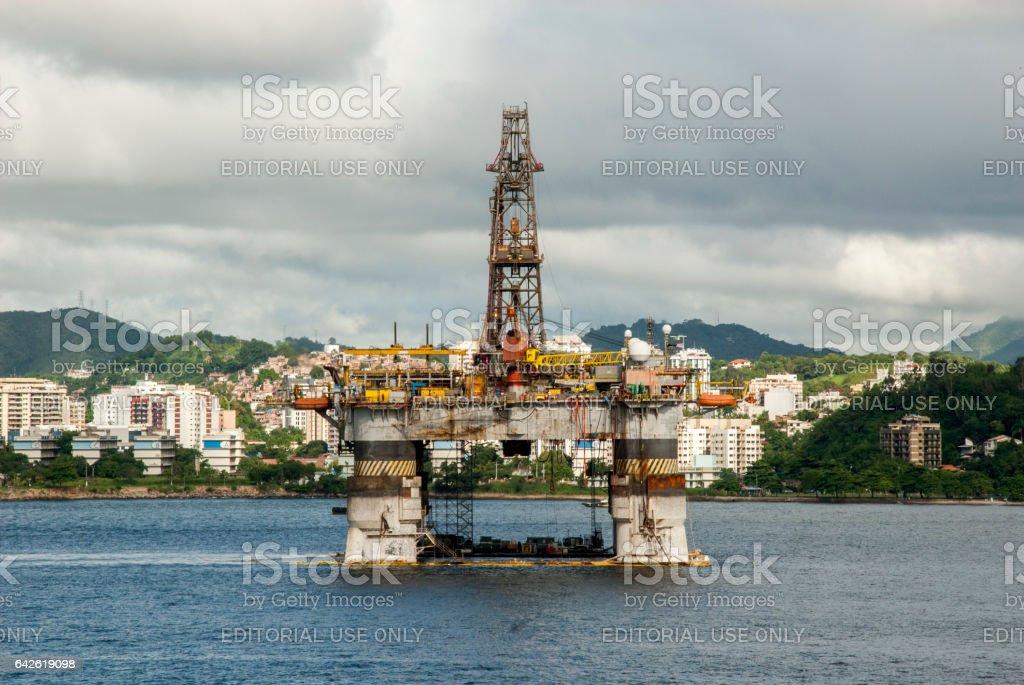Brazil - Oil Rig In Guanabara Bay - Rio de Janeiro stock photo