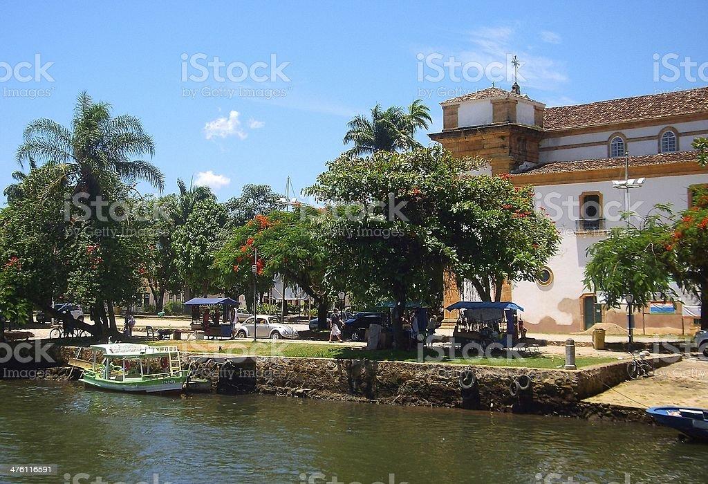 Brazil Paraty village river panorama royalty-free stock photo