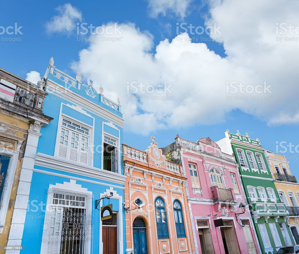 Brazil Salvador colourful houses near Pelourinho stock photo