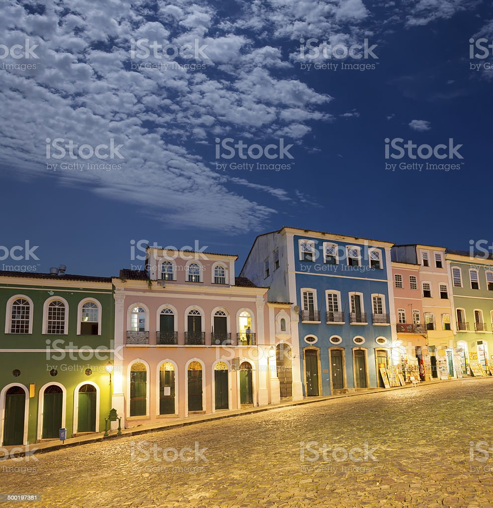 Brazil Salvador - Pelourinho at night stock photo