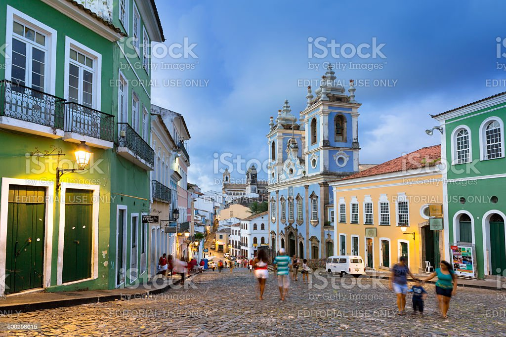 Brazil Salvador Pelourinho with Church of Nosso Senhor do Bonfim stock photo
