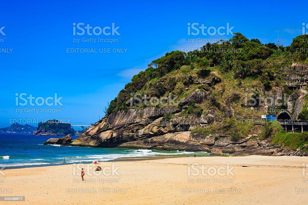 Brazil - Sao Conrado beach, Rio de Janeiro on weekday stock photo