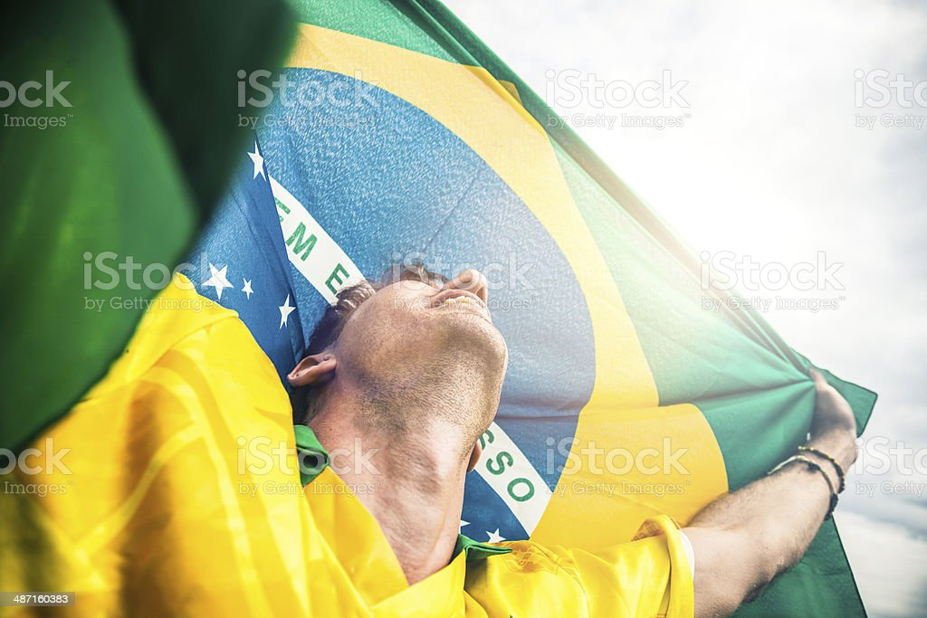 Brazil soccer player wins the game royalty-free stock photo