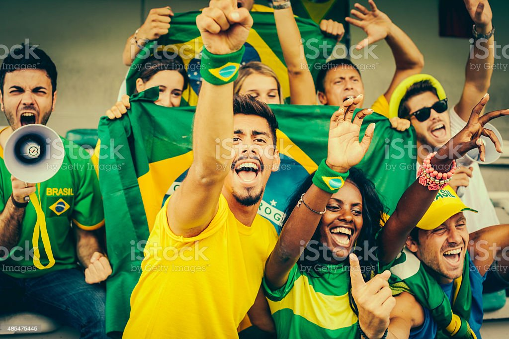 Brazil Supporters at the Stadium royalty-free stock photo