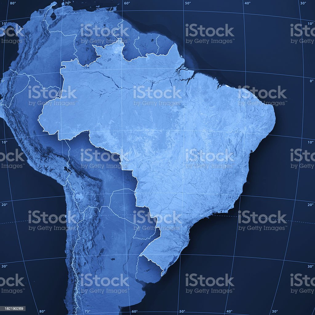 Brazil Topographic Map stock photo
