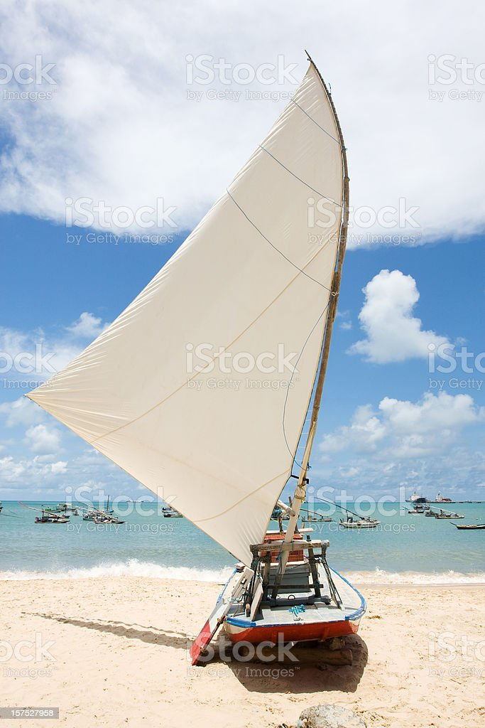 Brazil, Tropical Beach. Jangada. stock photo
