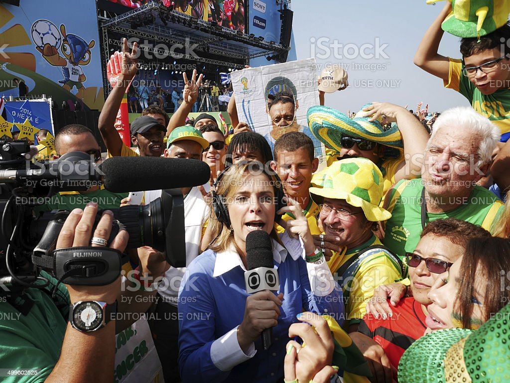 Brazil World  Cup TV interview with fans stock photo