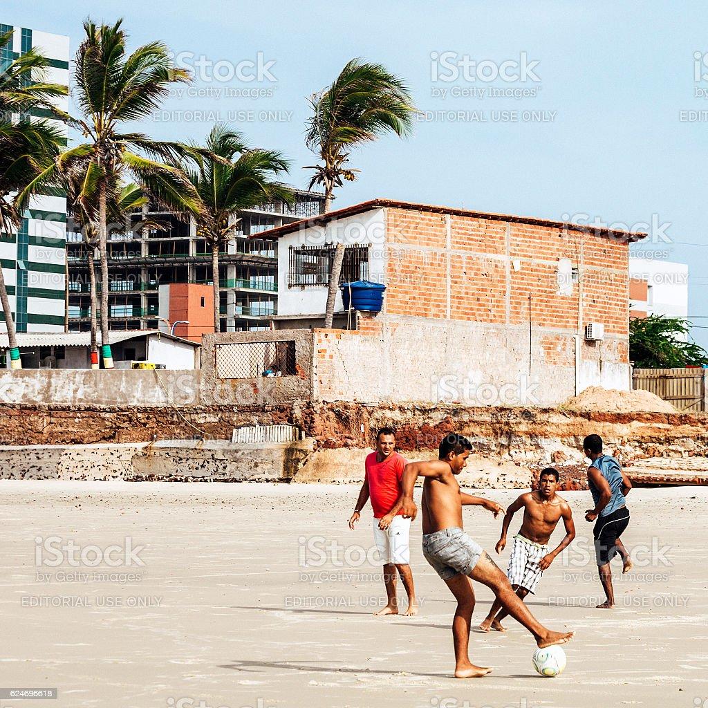 Brazilian beach football, Sao luis. stock photo