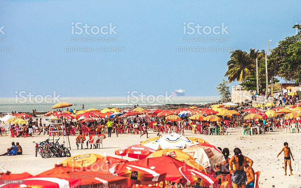 Brazilian beach scene. Sao Luis, Maranhao. stock photo