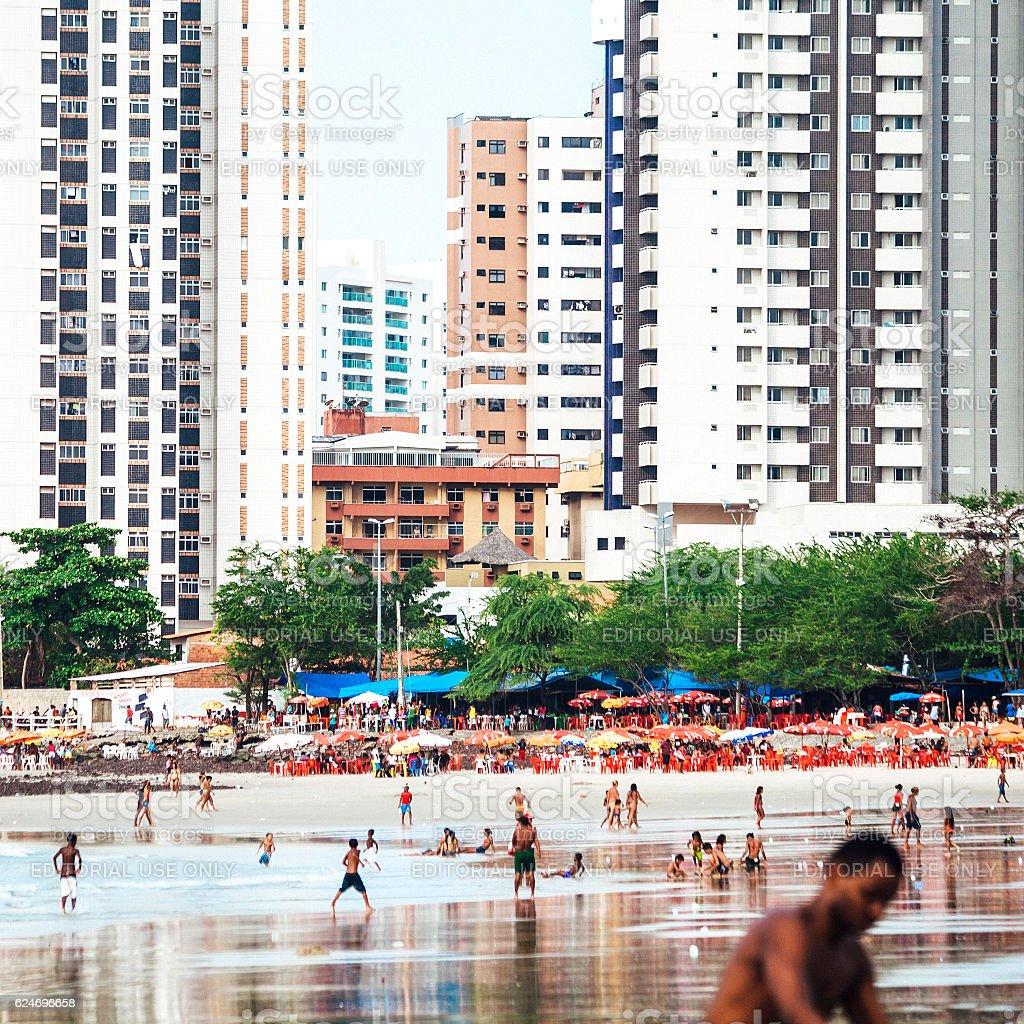 Brazilian beach scene, Sao luis. stock photo