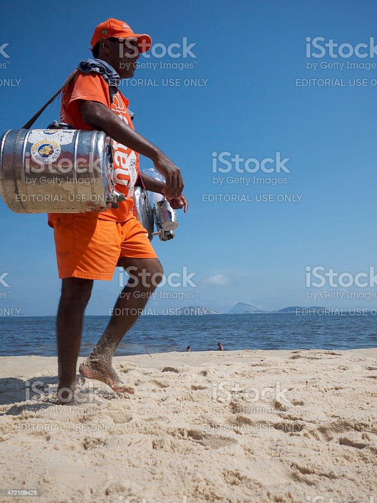 Brazilian Beach Vendor Selling Mate Ipanema Rio stock photo