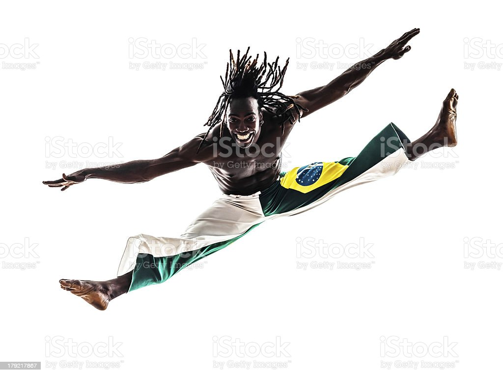 Brazilian black man dancer dancing capoeira royalty-free stock photo