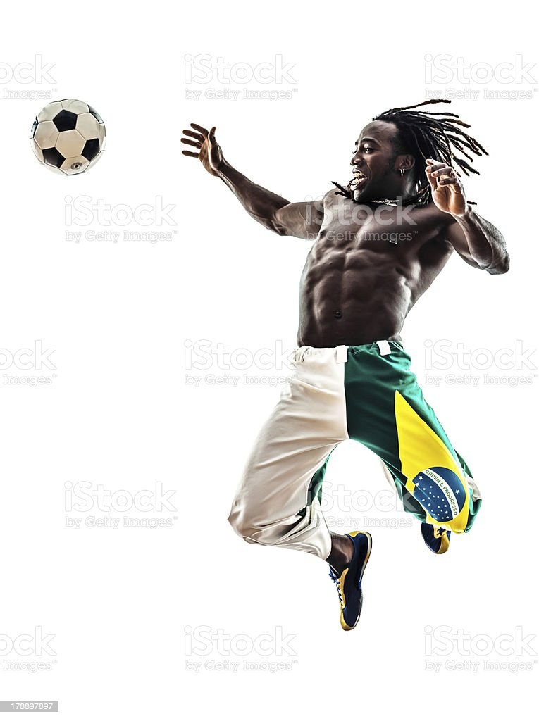 Brazilian black man soccer player royalty-free stock photo