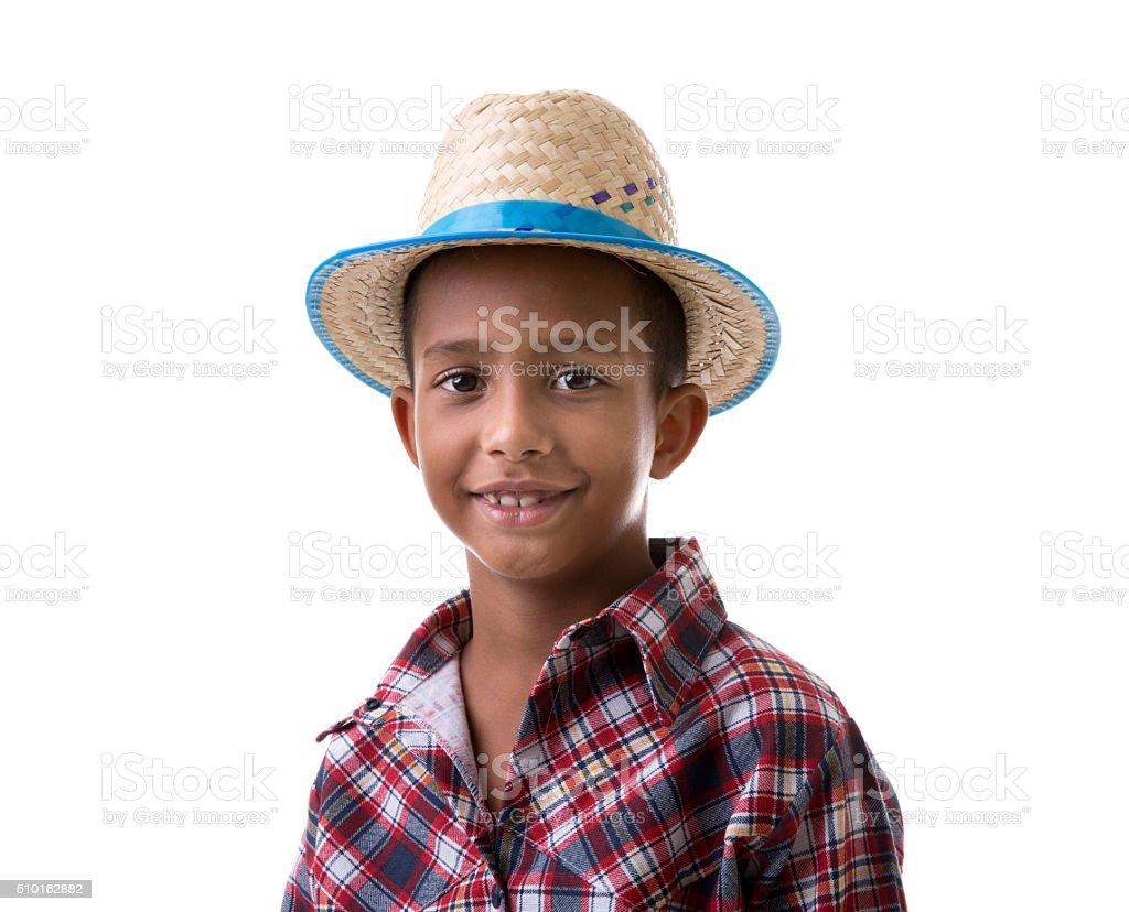 Brazilian boy wearing costume for Brazilian Junina Party stock photo
