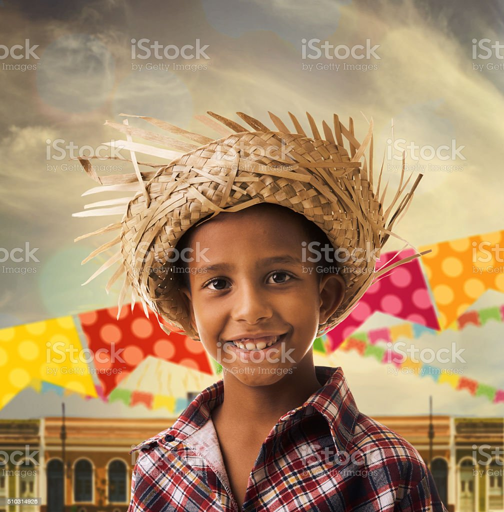 Brazilian boy wearing costume for Brazilian Junina Party stock photo