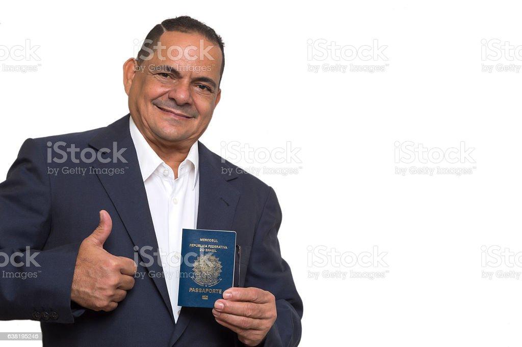 Brazilian businessman shows his passport stock photo