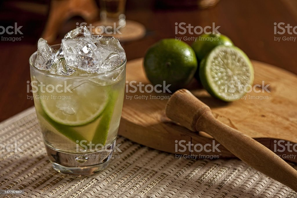 Brazilian Caipirinha Drink with Lime stock photo