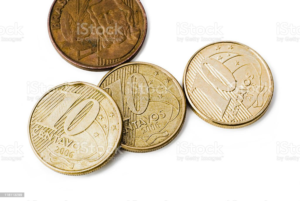 Brazilian centavos close-up stock photo
