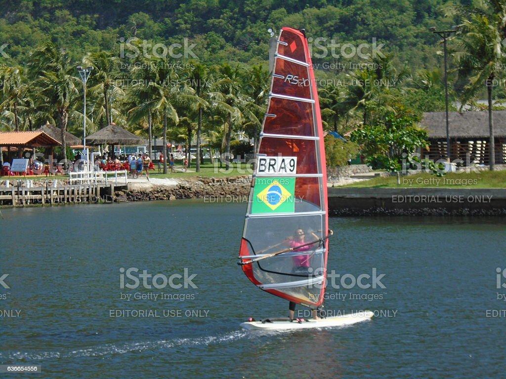 Brazilian competitor in the Brazilian Sailing Cup stock photo