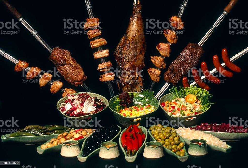 brazilian cuisine churrasco restaurant stock photo