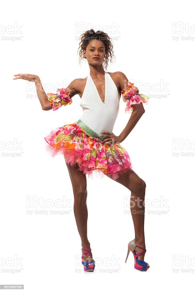 brazilian dancer isolated on white stock photo