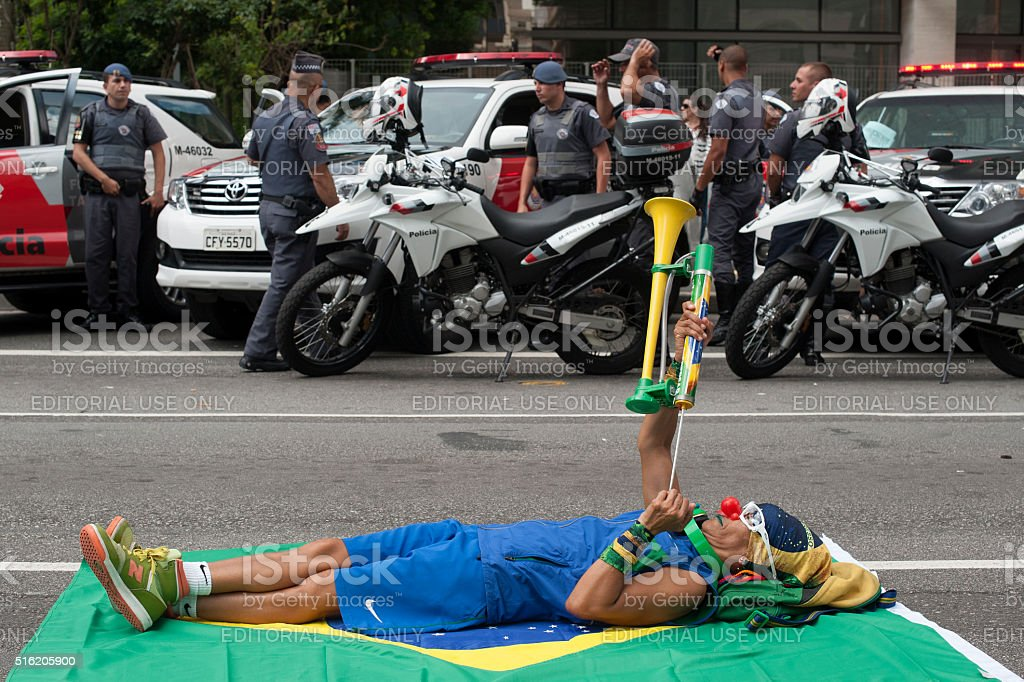 Brazilian Demonstrators stock photo