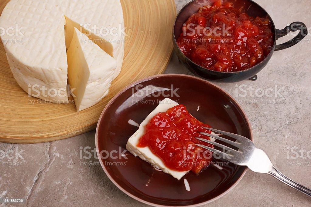 Brazilian dessert Romeo and Juliet, goiabada jam and cheese Minas stock photo