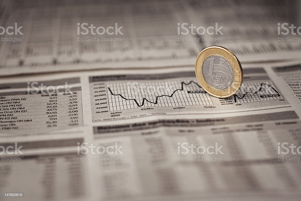 Brazilian Economy Real with the local currency stock photo