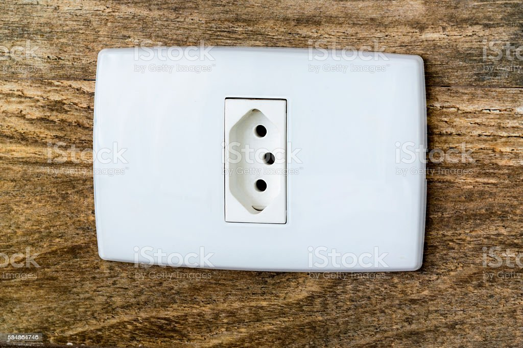 Brazilian electrical outlet standard stock photo