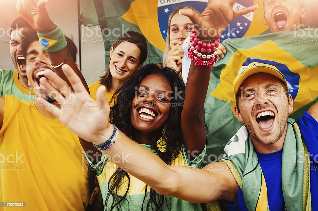 Brazilian Fans at Stadium royalty-free stock photo