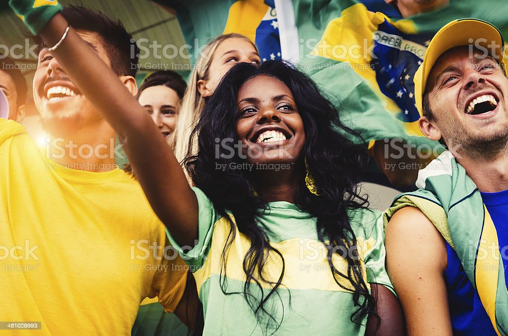 Brazilian Fans at Stadium stock photo