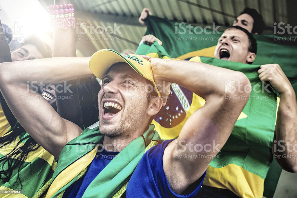 Brazilian fans in the stadium royalty-free stock photo