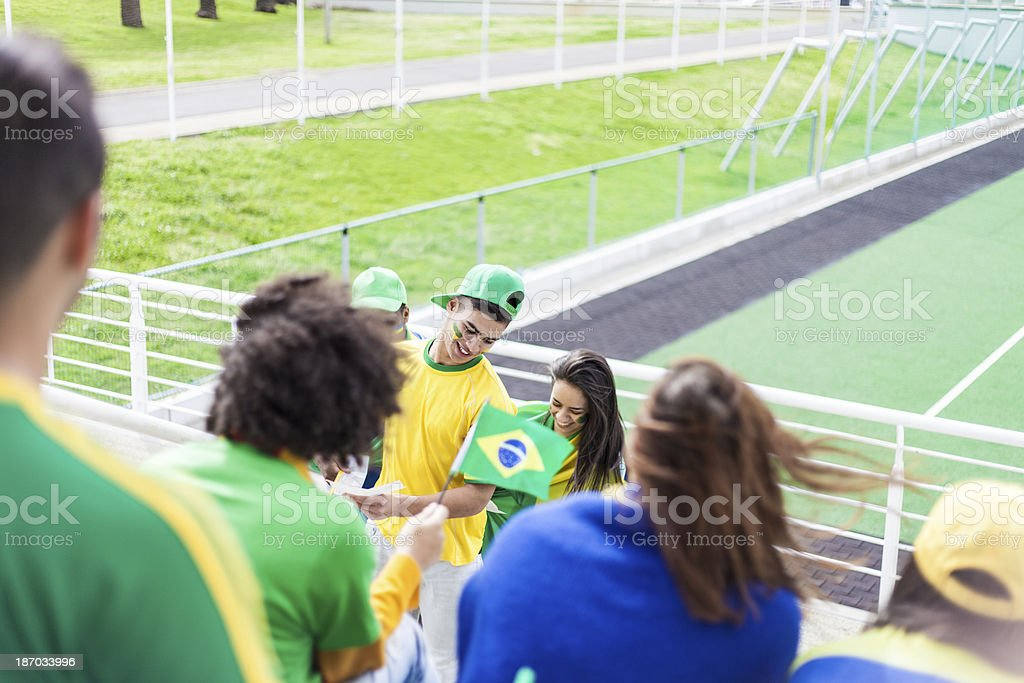 Brazilian Fans looking for their Seats. stock photo