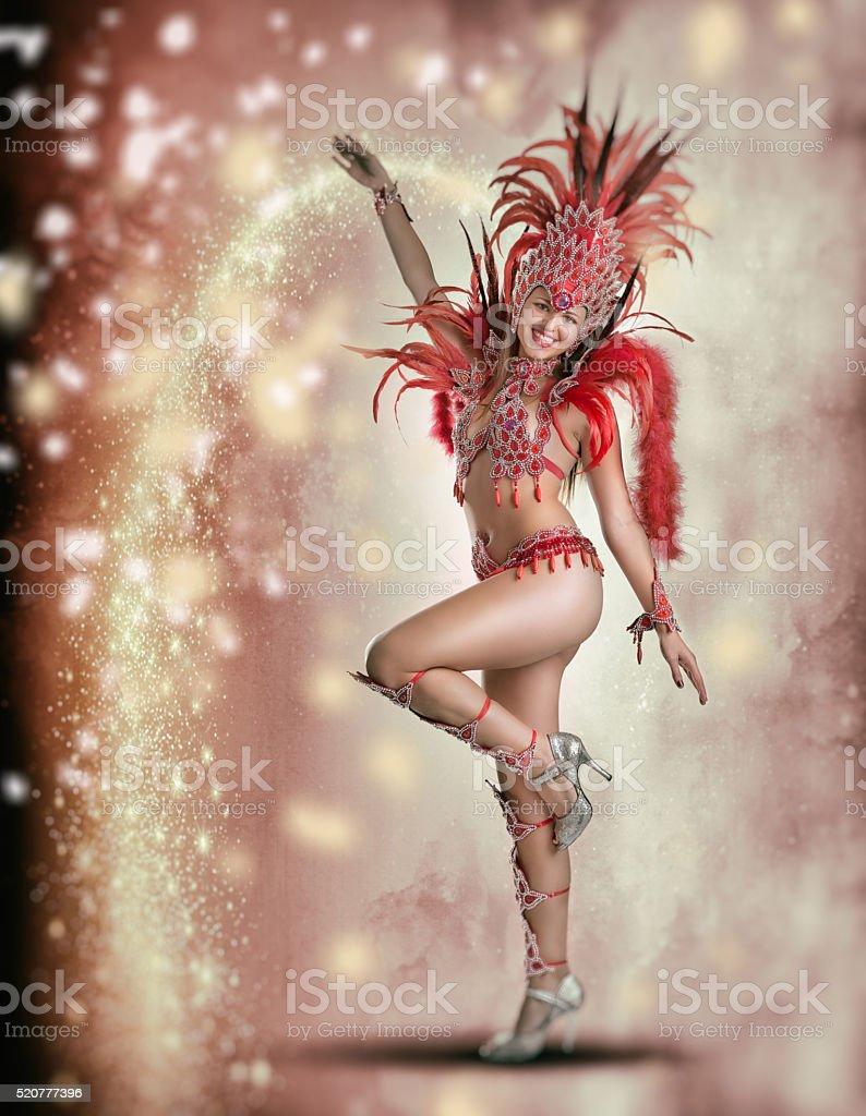 Brazilian female samba dancer in carnival costume stock photo