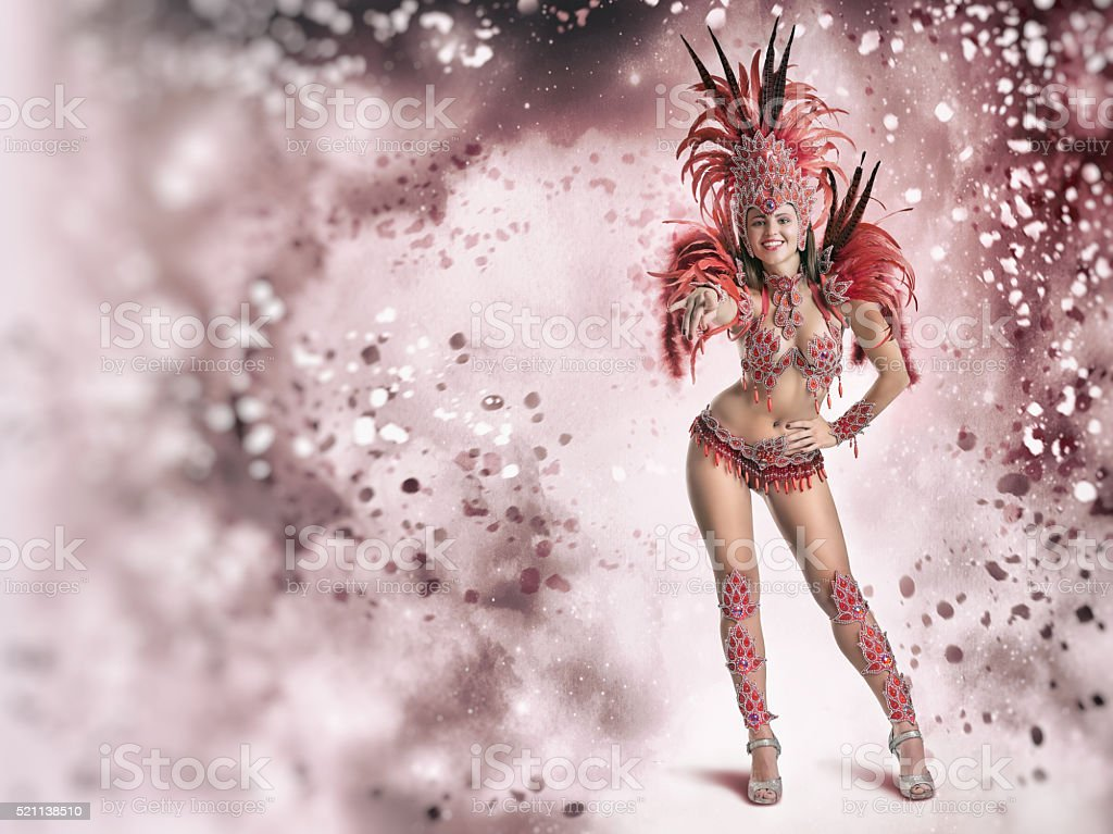 Brazilian female samba dancer in carnival costume stock photo